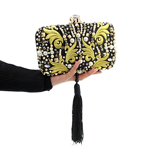 VENNOBIA Embroidery Tassel Pearl Crystal Clasp Metal Frame Evening Bag Yellow