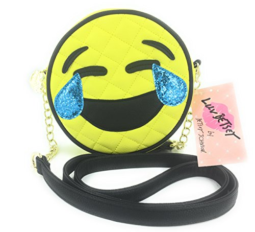 Luv Betsey Johnson LOL Laughing Emoji Face Crossbody, Yellow