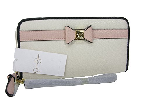 New Jessica Simpson Logo Zip Around Wallet Purse Hand Bag Pink Cream Black Karla