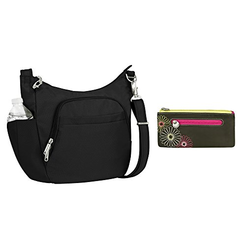 Travelon Anti-Theft Classic Crossbody Bucket Bag and RFID Double Zip Clutch Wallet
