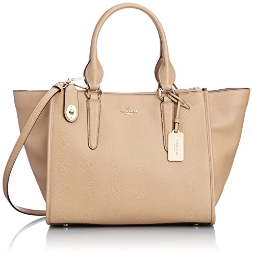 Coach Crosby Carryall in Crossgrain Leather Light Gold/nude