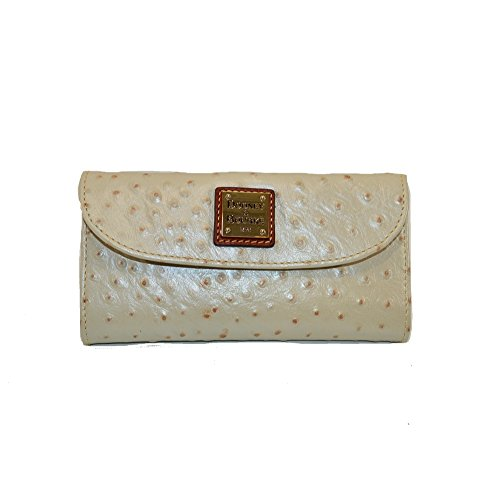 Dooney and Bourke Ostrich Emb Leather Continental Clutch Pearl