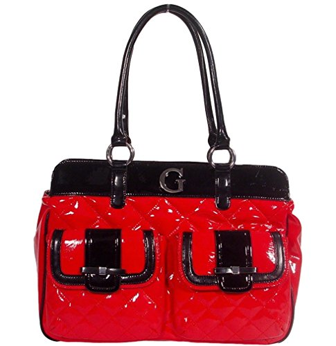 Guess Jill Large Satchel Handbag Bag Purse – Red / Black