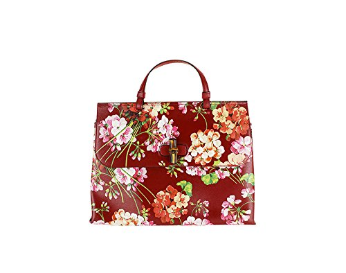 Gucci Womens Bamboo Daily Blooms Top Handle Medium Tote Floral Red Leather