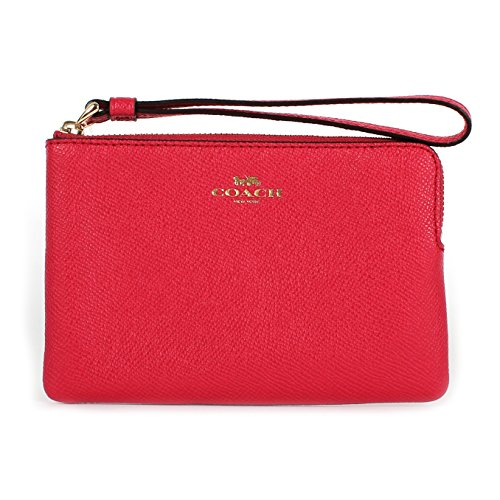 Coach Crossgrain Leather Corner Zip Wristlet Bright Pink