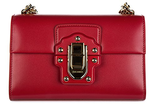 Dolce&Gabbana women's leather cross-body messenger shoulder bag lucia red