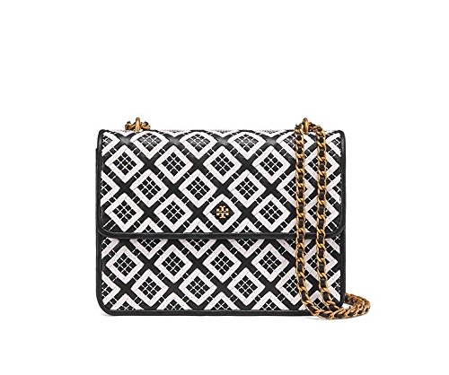 Tory Burch Women's Robinson Woven Quilted Convertible Shoulder Bag, Black/New Ivory, One Size