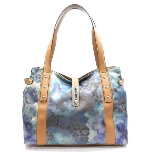 Designer Inspired Belt Blue Lock Satin Print Tan L Xl Hobo Bag Handbag Purse