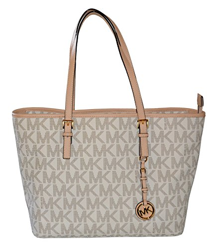 Michael Kors MK Signature Jet Set Travel TZ Tote Vanilla