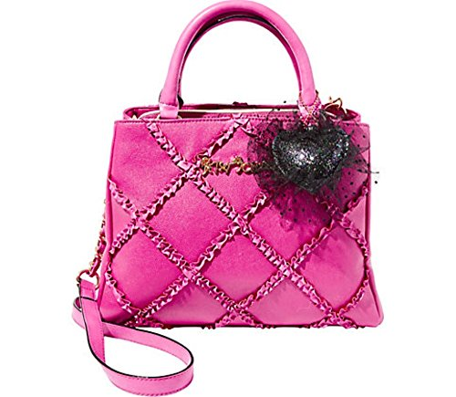 Betsey Johnson Cross Your Heart Fuschia Diagonal Ruffle Tulle Heart Fob Detail Satchel Shoulder Bag