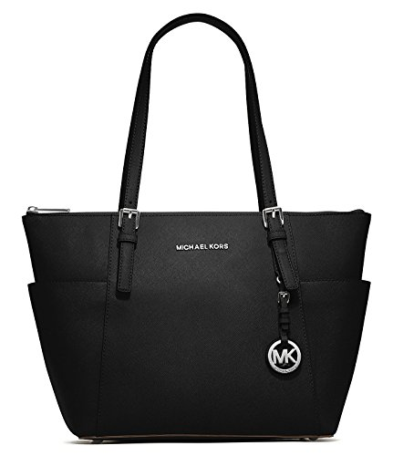 Michael Kors Jet Set Black Saffiano Leather Zip-Top Tote