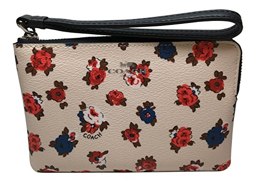 Coach Tea Rose Foral Corner Zip Wristlet F57596 Chalk Multi