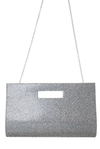 L.COLETTE All Over Crystal Rhinestones Design with Chain Strap Evening Clutch Bag HD1813