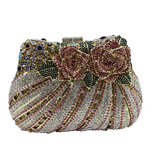 DMIX Womens Luxury Floral Crystal Clutches and Evening Bag for Prom Wedding Party Evening Pink