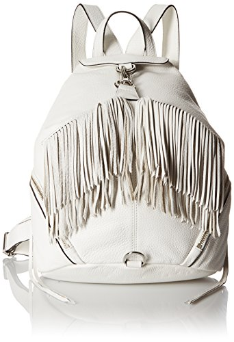 Rebecca Minkoff Fringe Julian Fashion Backpack Handbag, White, One Size
