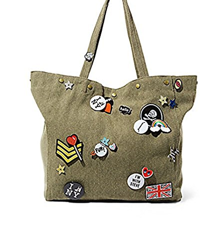 Steve Madden Bdeleney – Army Green-Tote with Pins and Patches