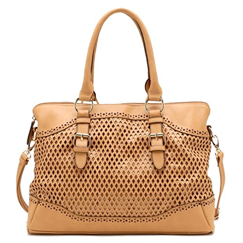 Tosca USA, Quality 3-Compartment Eyelet Tote w/ Strap- Tan
