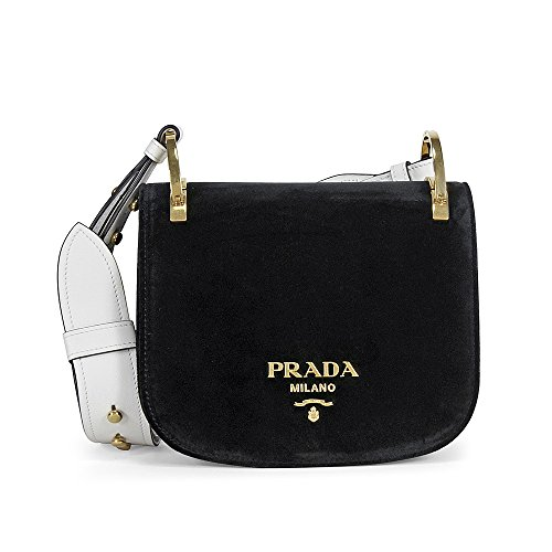 Prada Pionniere Velvet Shoulder Bag – Black and White
