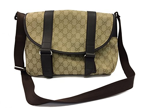 Gucci Handbag Beige Canvas And Brown Leather (Medium Messenger)