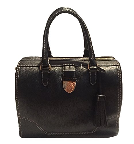 Ralph Lauren Black Bevington Barrel Handbag Bag Purse NEW