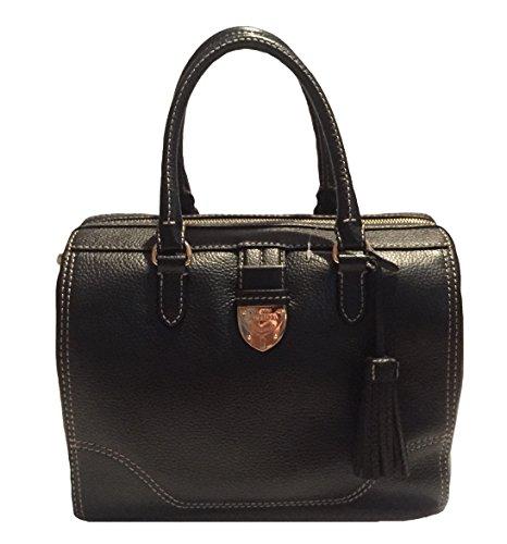 Ralph Lauren Black Bevington Barrel Handbag Bag Purse NEW