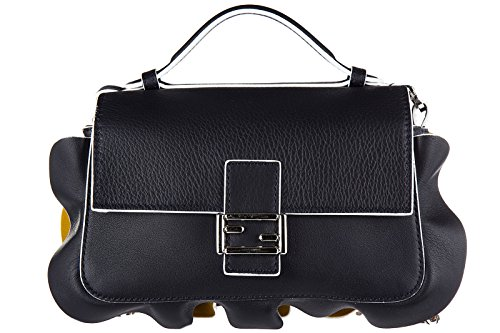 Fendi women's leather shoulder bag original doppia micro baguette calfskin dolce