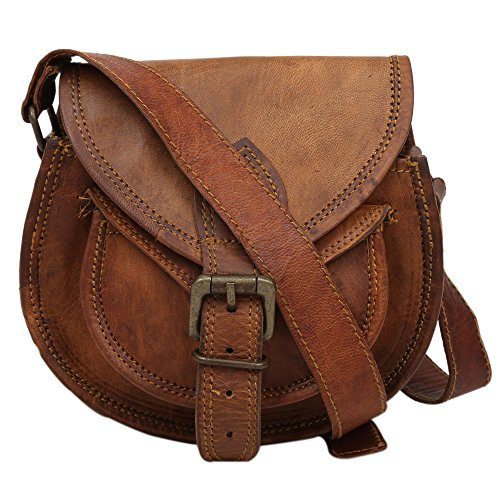 """Handcraft"" ""Ruby"" Vintage Style Genuine Brown Leather Cross Body Shoulder Bag Handmade Purse Small Size"