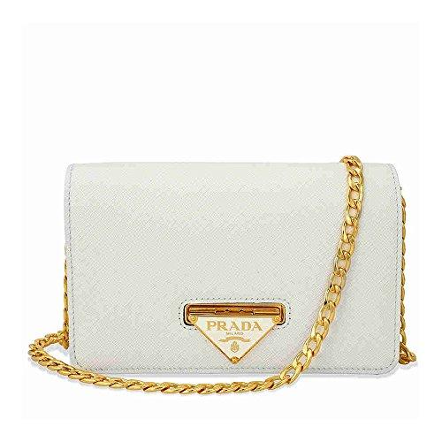 Prada Lux Saffiano Leather Crossbody Wallet – Bianco