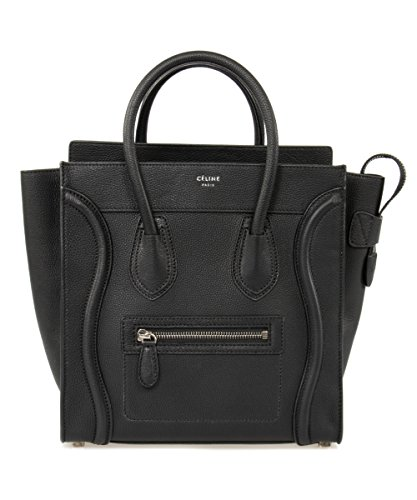 Celine Women's Luggage Tote Bag, Black, Micro