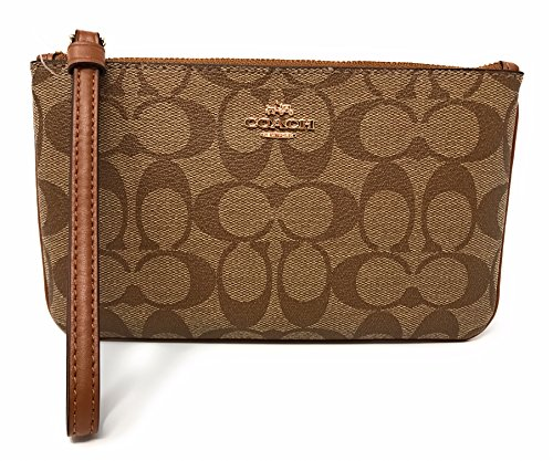 Coach Large Wristlet Signature Canvas F58695 Gold/Khaki/Saddle