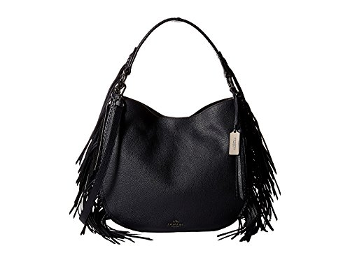 COACH Nomad Fringe Hobo in Pebble Leather in Dark Nickel / Navy Blue 37717