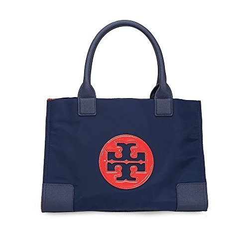 Tory Burch Ella Color-Block Mini Tote – Royal Navy / Cherry Apple