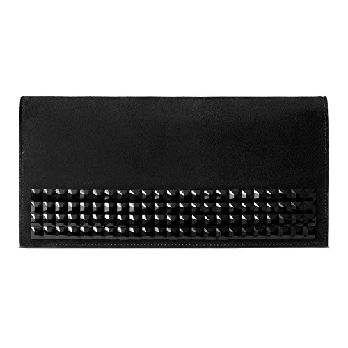 Gucci Women's Broadway Clutch Handbag Black Suede with Swarovski Studded Crystals 371928