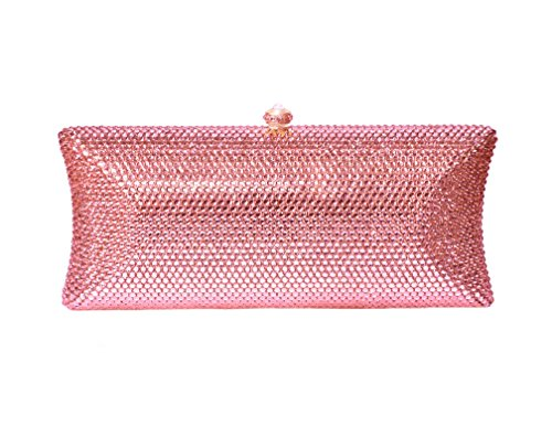 Pink Pave Crystal Bridal Clutch Formal Evening Bag & Compact Mirror Wedding Party Gift Set