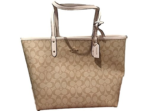 COACH Signature Logo City Tote In Light Khaki / Chalk #F36876