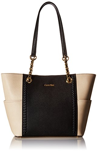 Calvin Klein Key Item Saffiano Tote, Black/Wheat Braid