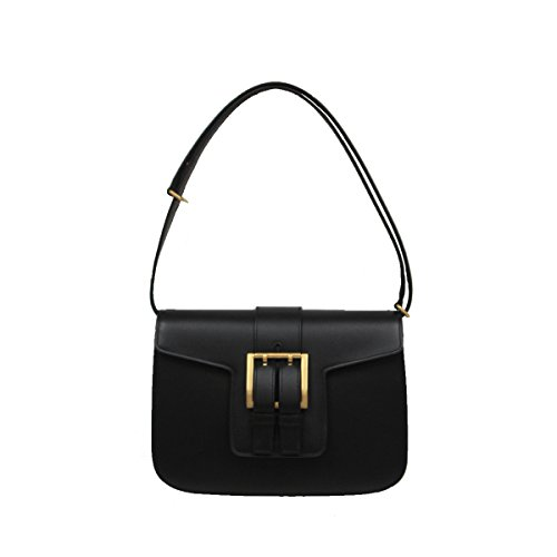 Saint Laurent Women's Nico Leather Satchel Shoulder Handbag 372102 Black
