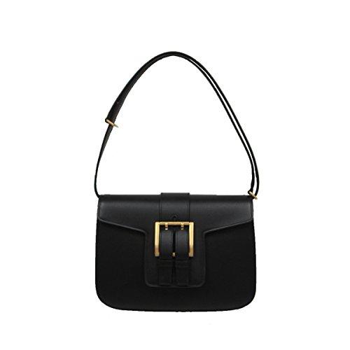 Saint Laurent Women's Nico Leather Satchel Shoulder Handbag 372102 Black