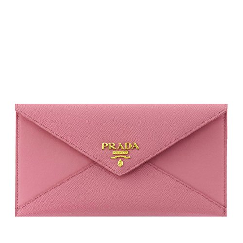 Prada Saffiano Vitello Leather Envelope Clutch Handbag 1MF175 Geranio Light Pink