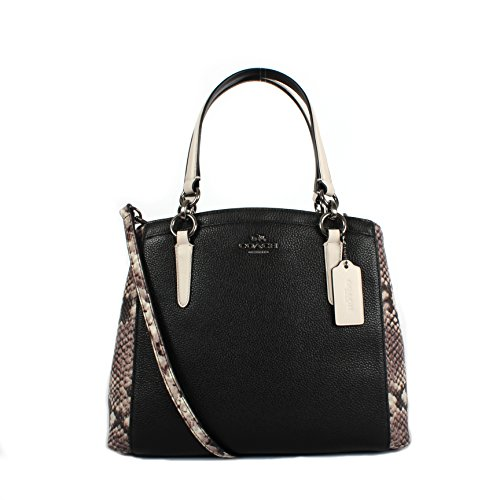 COACH Snake Embossed Leather Minetta Crossbody Shoulder Bag F57557 (Black Multi)