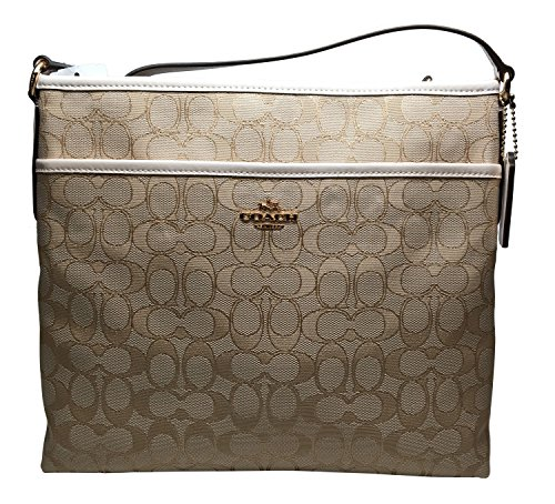 Coach Outline Signature File Bag Cross Body Light Khaki Chalk 58285
