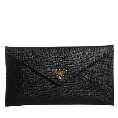 Prada Saffiano Vitello Leather Envelope Clutch Handbag 1MF175 Nero Black Geranio Light Pink