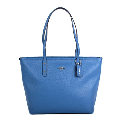 Coach Crossgrain Leather City Zip Tote Bag Purse Handbag, Lapis Blue