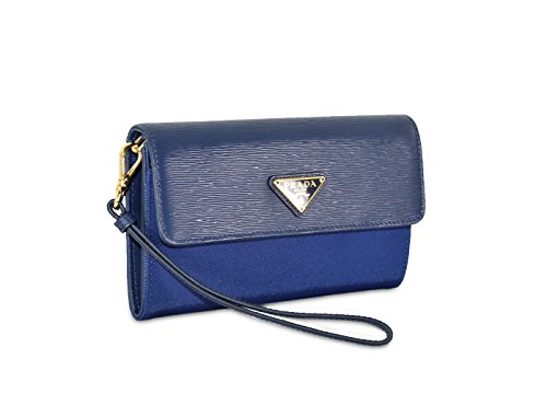 Prada Tessuto Textured Calfskin Leather & Nylon Wristlet Wallet, Blue (Bluette) 1M1438