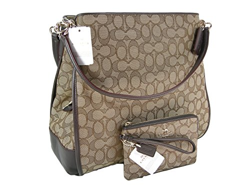 New Coach C Signature Purse Satchel Hand Bag & Wristlet Set Khaki Brown 2 Piece