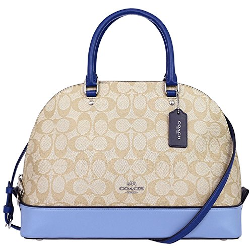COACH SIERRA SATCHEL IN COLORBLOCK SIGNATURE F57494, SILVER/KHAKI/BLUE MULTI