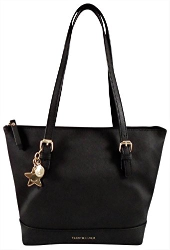Tommy Hilfiger Saffiano PVC Top Handle Tote Handbag- Black