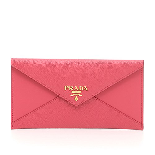 Prada Saffiano Vitello Leather Envelope Clutch Handbag 1MF175 Fuchsia Pink