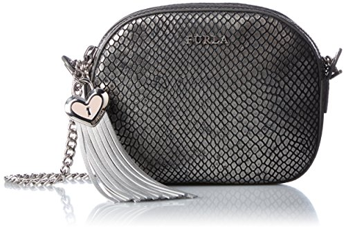 Furla Acciaio Mini Metallic Print Python emb Leather Novelty Bag