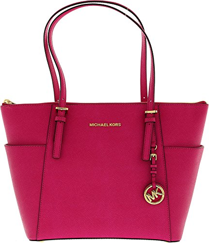 Michael Michael Kors Jet Set East West Top Zipper Raspberry Leather Tote 30F2GTTT8L-562